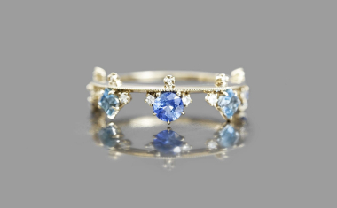 Sapphire Aquamarine Crown Ring