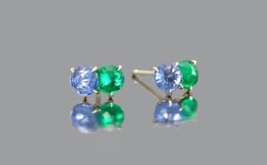 Emerald Sapphire Calyx Studs