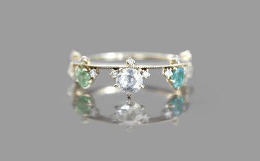 Diamond Heart Crown Ring