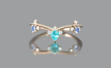 Curved Paraiba Crown Ring