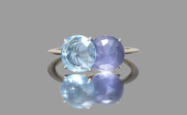 Iolite Blue Topaz Calyx Ring