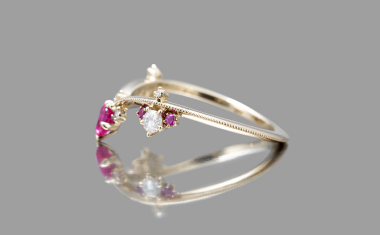 Curved Ruby Crown Ring