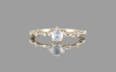 Rainbow Moonstone Snowflake Ring