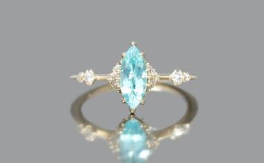 Paraiba Iris Marquise Ring