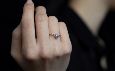 Curved Ruby Heart Ring